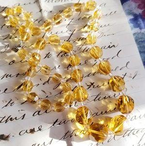 Art Deco cut crystal yellow bead necklace vintage